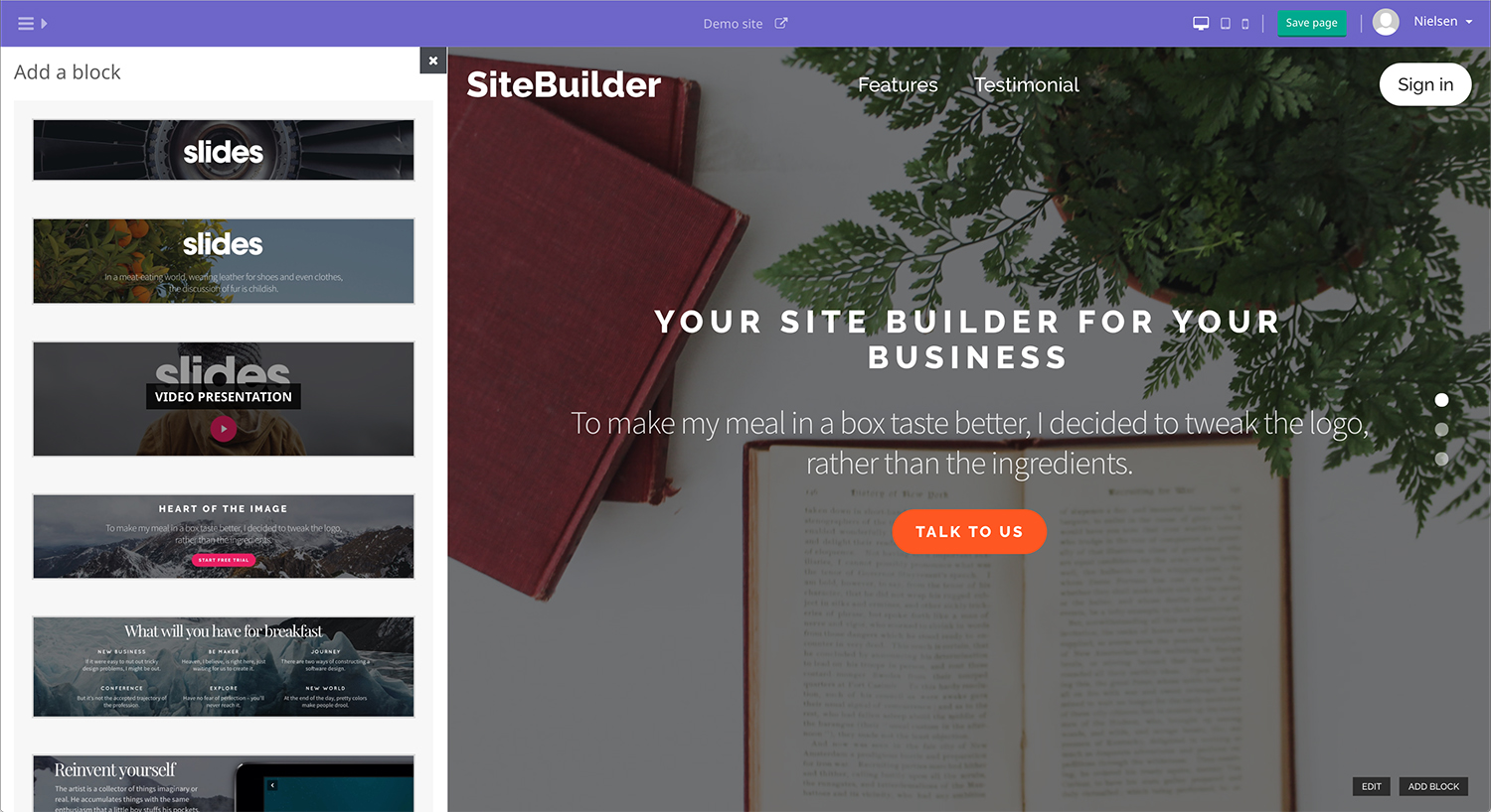 Screenshot of the SiteBuilder