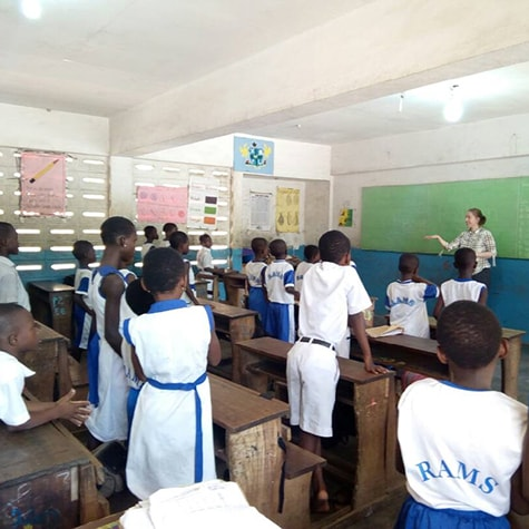 Teaching English in a school in Ghana