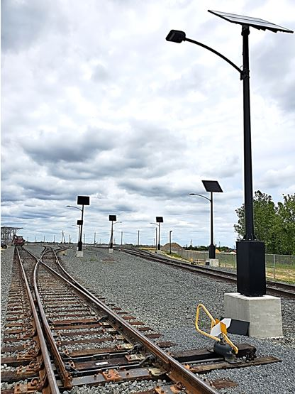 An example of Clear Blue Technologies' Illumient solar lighting solution at the Greenwich railyard in New Jersey.