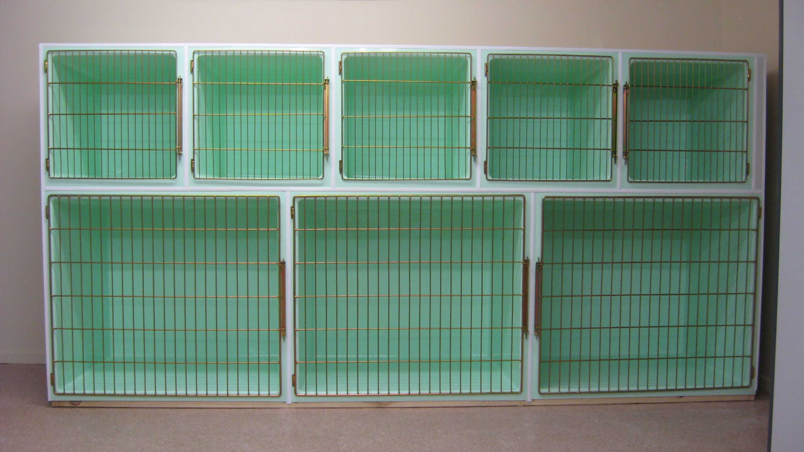 Creature Comfort Cages cage bank: 5 x Cat Cages (top), 3 x Large Dog Cages (bottom)
