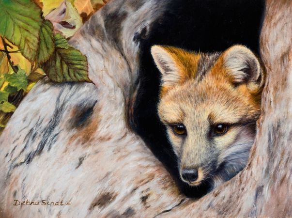 """Safe and Sound"" - 9""x 12"" Oil on Linen Gray Fox- Original Available"
