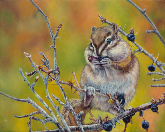 """""""Tiny Treasures"""" - 14""""x 18"""" Oil on Linen- Chipmunk- Prints Available"""