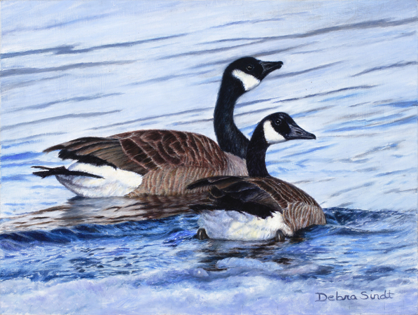 """""""A Perfect Pair"""" - 8""""x 10"""" Oil on Linen Study of Geese"""